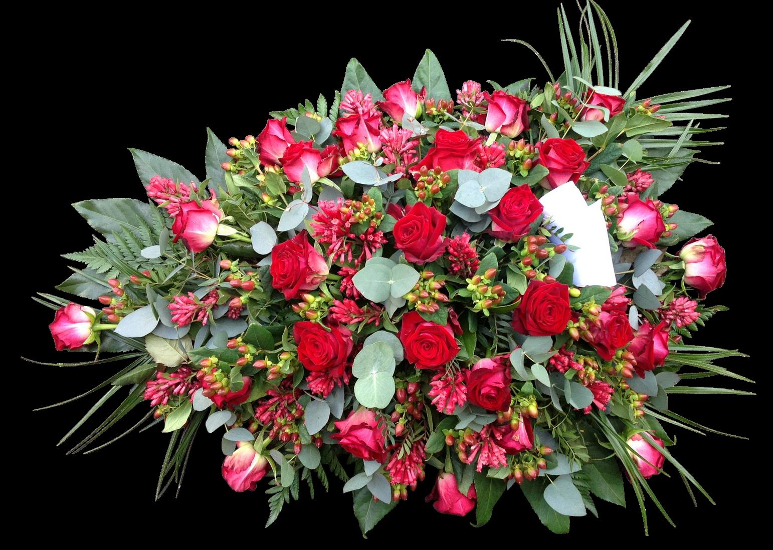 Rouwstuk langwerpig rode bloemen