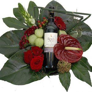Bloemstuk rode wijn