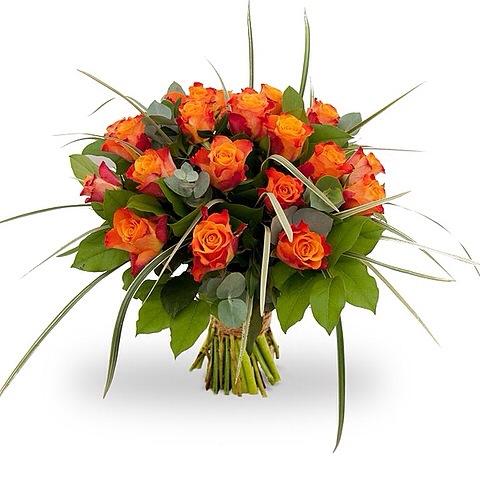 boeket met oranje rozen