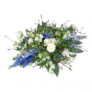 Rouwstuk modern blauw wit